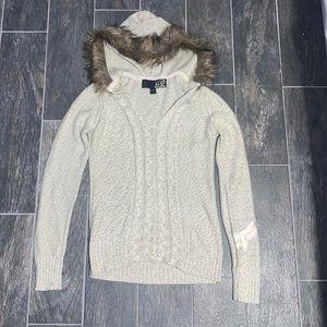 Fox Riders Faux Fur Hooded Logo Sweater